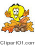 Illustration of a Cartoon Light Bulb Mascot with Autumn Leaves and Acorns in the Fall by Toons4Biz