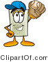 Illustration of a Cartoon Light Switch Mascot Catching a Baseball with a Glove by Toons4Biz