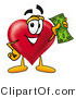 Illustration of a Cartoon Love Heart Mascot Holding a Dollar Bill by Toons4Biz
