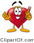 Illustration of a Cartoon Love Heart Mascot Holding a Pencil by Toons4Biz
