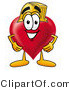Illustration of a Cartoon Love Heart Mascot Wearing a Helmet by Toons4Biz