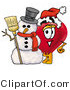 Illustration of a Cartoon Love Heart Mascot with a Snowman on Christmas by Toons4Biz
