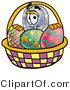 Illustration of a Cartoon Magnifying Glass Mascot in an Easter Basket Full of Decorated Easter Eggs by Toons4Biz