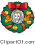 Illustration of a Cartoon Magnifying Glass Mascot in the Center of a Christmas Wreath by Toons4Biz
