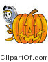 Illustration of a Cartoon Magnifying Glass Mascot with a Carved Halloween Pumpkin by Toons4Biz