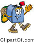 Illustration of a Cartoon Mailbox Hiking and Carrying a Backpack by Toons4Biz