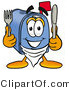 Illustration of a Cartoon Mailbox Holding a Knife and Fork by Toons4Biz