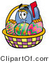 Illustration of a Cartoon Mailbox in an Easter Basket Full of Decorated Easter Eggs by Toons4Biz
