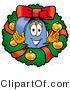 Illustration of a Cartoon Mailbox in the Center of a Christmas Wreath by Toons4Biz