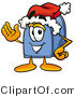 Illustration of a Cartoon Mailbox Wearing a Santa Hat and Waving by Toons4Biz