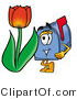 Illustration of a Cartoon Mailbox with a Red Tulip Flower in the Spring by Toons4Biz