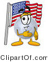 Illustration of a Cartoon Moon Mascot Pledging Allegiance to an American Flag by Toons4Biz