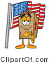 Illustration of a Cartoon Packing Box Mascot Pledging Allegiance to an American Flag by Toons4Biz