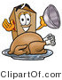Illustration of a Cartoon Packing Box Mascot Serving a Thanksgiving Turkey on a Platter by Toons4Biz