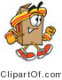 Illustration of a Cartoon Packing Box Mascot Speed Walking or Jogging by Toons4Biz