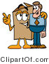 Illustration of a Cartoon Packing Box Mascot Talking to a Business Man by Toons4Biz