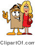 Illustration of a Cartoon Packing Box Mascot Talking to a Pretty Blond Woman by Toons4Biz