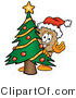 Illustration of a Cartoon Packing Box Mascot Waving and Standing by a Decorated Christmas Tree by Toons4Biz