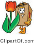 Illustration of a Cartoon Packing Box Mascot with a Red Tulip Flower in the Spring by Toons4Biz