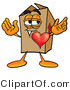 Illustration of a Cartoon Packing Box Mascot with His Heart Beating out of His Chest by Toons4Biz