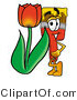 Illustration of a Cartoon Paint Brush Mascot with a Red Tulip Flower in the Spring by Toons4Biz