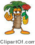 Illustration of a Cartoon Palm Tree Mascot Holding a Red Rose on Valentines Day by Toons4Biz
