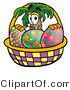 Illustration of a Cartoon Palm Tree Mascot in an Easter Basket Full of Decorated Easter Eggs by Toons4Biz