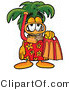 Illustration of a Cartoon Palm Tree Mascot in Orange and Red Snorkel Gear by Toons4Biz
