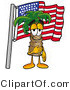 Illustration of a Cartoon Palm Tree Mascot Pledging Allegiance to an American Flag by Toons4Biz