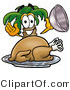 Illustration of a Cartoon Palm Tree Mascot Serving a Thanksgiving Turkey on a Platter by Toons4Biz