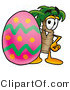Illustration of a Cartoon Palm Tree Mascot Standing Beside an Easter Egg by Toons4Biz