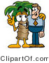 Illustration of a Cartoon Palm Tree Mascot Talking to a Business Man by Toons4Biz