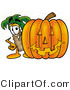 Illustration of a Cartoon Palm Tree Mascot with a Carved Halloween Pumpkin by Toons4Biz