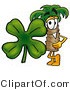 Illustration of a Cartoon Palm Tree Mascot with a Green Four Leaf Clover on St Paddy's or St Patricks Day by Toons4Biz