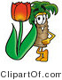 Illustration of a Cartoon Palm Tree Mascot with a Red Tulip Flower in the Spring by Toons4Biz