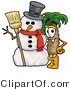 Illustration of a Cartoon Palm Tree Mascot with a Snowman on Christmas by Toons4Biz