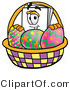 Illustration of a Cartoon Paper Mascot in an Easter Basket Full of Decorated Easter Eggs by Toons4Biz
