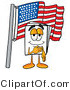 Illustration of a Cartoon Paper Mascot Pledging Allegiance to an American Flag by Toons4Biz