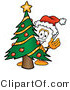 Illustration of a Cartoon Paper Mascot Waving and Standing by a Decorated Christmas Tree by Toons4Biz