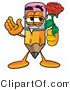 Illustration of a Cartoon Pencil Mascot Holding a Red Rose on Valentines Day by Toons4Biz