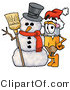 Illustration of a Cartoon Pencil Mascot with a Snowman on Christmas by Toons4Biz