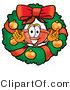 Illustration of a Cartoon Plunger Mascot in the Center of a Christmas Wreath by Toons4Biz