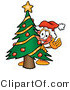 Illustration of a Cartoon Plunger Mascot Waving and Standing by a Decorated Christmas Tree by Toons4Biz