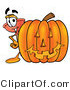 Illustration of a Cartoon Plunger Mascot with a Carved Halloween Pumpkin by Toons4Biz