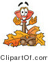 Illustration of a Cartoon Plunger Mascot with Autumn Leaves and Acorns in the Fall by Toons4Biz