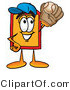 Illustration of a Cartoon Price Tag Mascot Catching a Baseball with a Glove by Toons4Biz