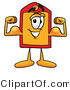 Illustration of a Cartoon Price Tag Mascot Flexing His Arm Muscles by Toons4Biz