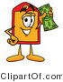 Illustration of a Cartoon Price Tag Mascot Holding a Dollar Bill by Toons4Biz