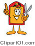 Illustration of a Cartoon Price Tag Mascot Holding a Pair of Scissors by Toons4Biz
