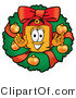 Illustration of a Cartoon Price Tag Mascot in the Center of a Christmas Wreath by Toons4Biz